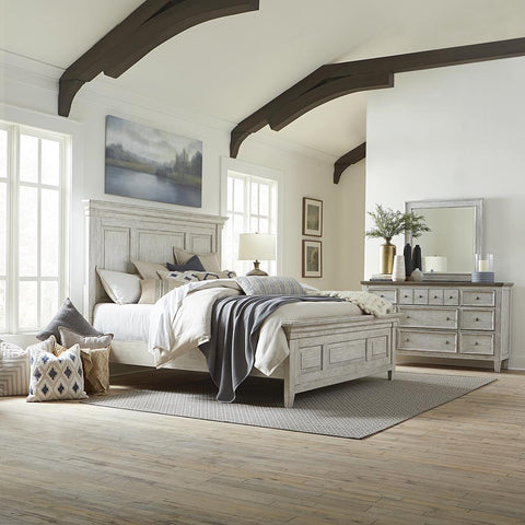 Liberty Heartland King Panel Bed, Dresser & Mirror