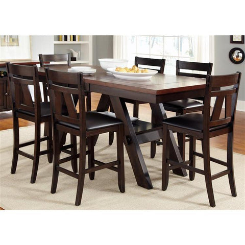 Liberty Lawson Seven Piece Gathering Dining Set In Light & Dark Expresso