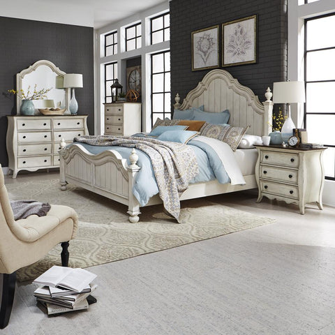 Liberty Parisian Marketplace King Poster Bed, Dresser & Mirror, Chest, N/S