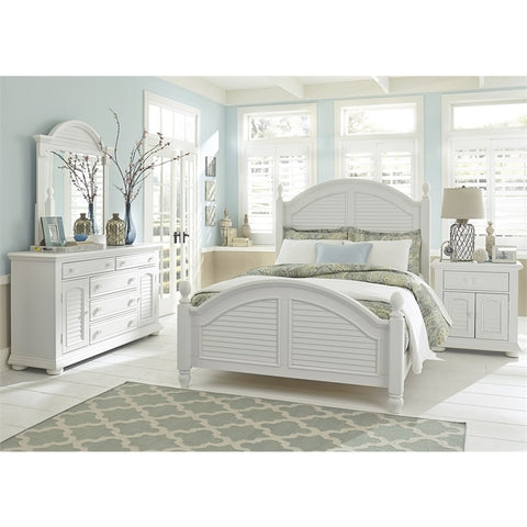 Liberty Summer House I Poster Four Piece Nightstand Bedroom Set In Oyster White