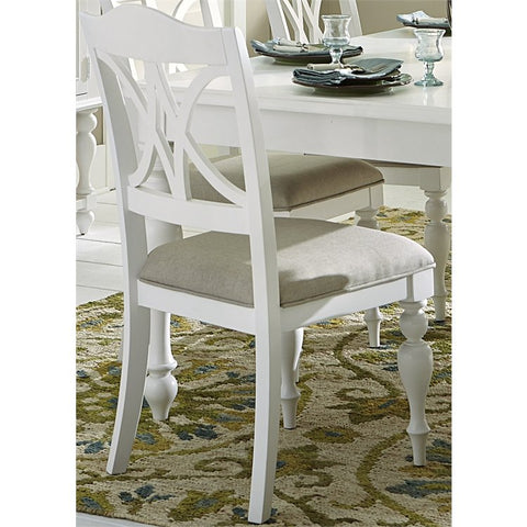 Liberty Summer House I Slat Back Side Chair In Oyster White