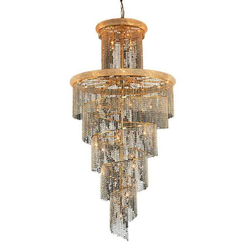 Lighting By Pecaso Adrienne Collection Large Hanging Fixture D48in H96in Lt:41 Gold Finish