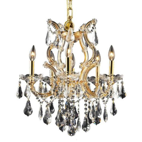 Lighting By Pecaso Karla Collection Hanging Fixture D20in H25in Lt:5+1 Gold Finish