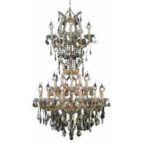 Lighting By Pecaso Karla Collection Large Hanging Fixture D30in H50in Lt:23+2 Gold Finish
