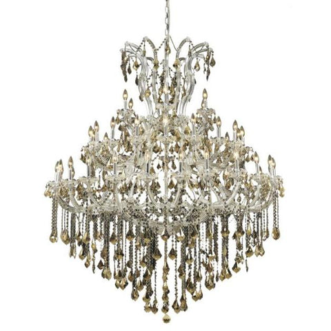 Lighting By Pecaso Karla Collection Large Hanging Fixture D60in H72in Lt:48+1 Chrome Finish