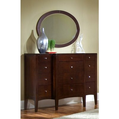 Ligna Port Collection 12 Drawer High Dresser & Oval Mirror