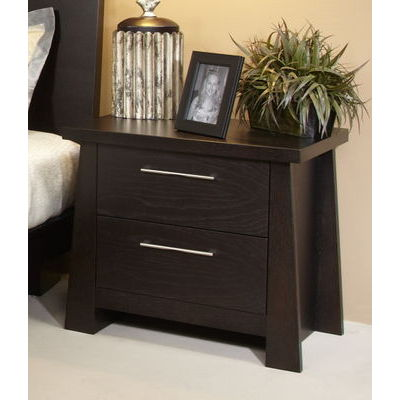 Ligna Zen Collection 2 Drawer Nightstand in Ebony