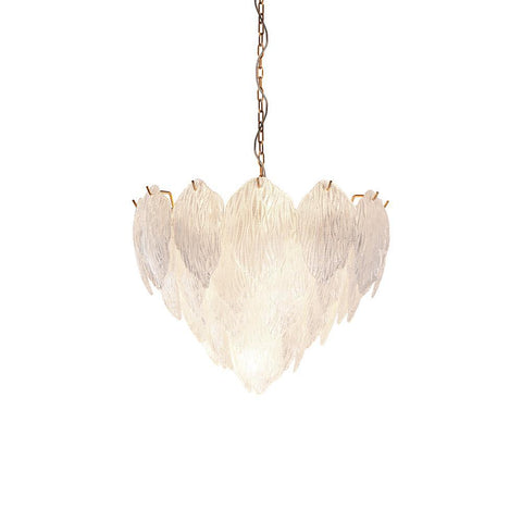 Lucas & McKearn Acanthus Textured Glass Updated Modern Distressed Gold Small Chandelier