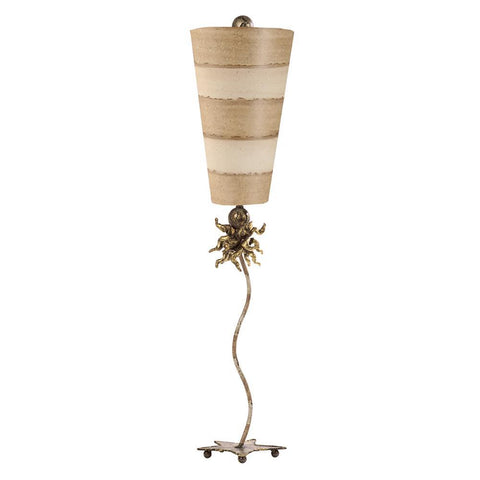 Lucas & McKearn Anemone Lucas Mckearn Tall Buffet Table Lamp With Striped Shade Gold and Silver