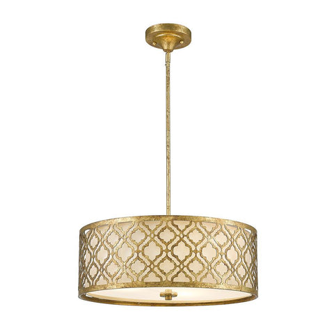 Lucas & McKearn Arabella Large Pendant convertible to Semi Flush in Distressed Gold
