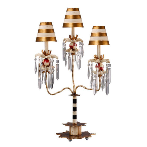 Lucas & McKearn Birdland III Table Lamp 3 Light Striped Lighting Fixture