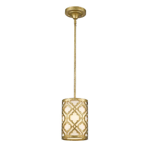 Lucas & McKearn Distressed Gold Arabella Mini Kitchen Pendant convertible to a semi flush