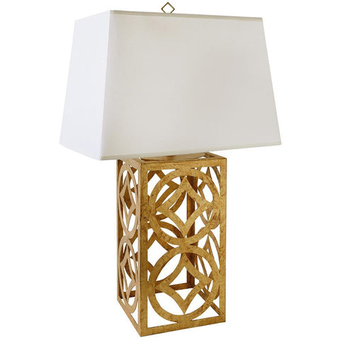 Lucas & McKearn Lee Circle Distressed Gold Buffet Table Lamp with Rectangle Shade