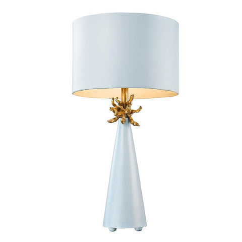 Lucas & McKearn Neo Light Blue Grey Buffet Table Lamp with Distressed Gold accents By Lucas McKearn