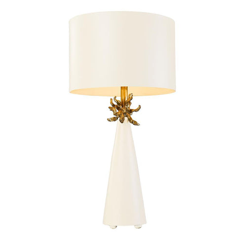 Lucas & McKearn Neo White Buffet Table Lamp with Distressed Gold accents By Lucas McKearn