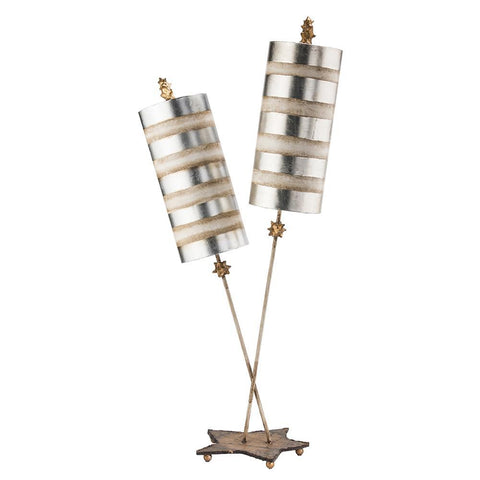 Lucas & McKearn Nettle Luxe Silver 2-light Double Buffet Table Lamp Distressed Mixed Finish