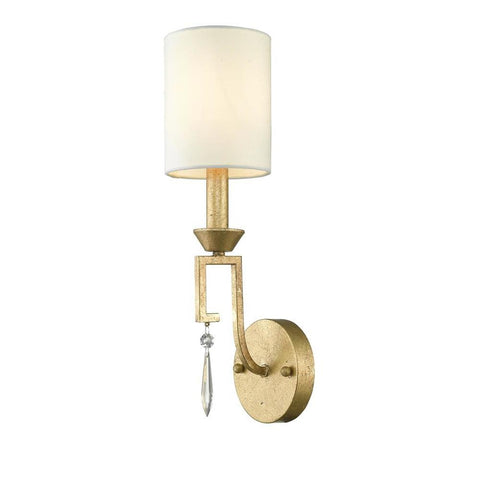 Lucas & McKearn Small Lemuria Sconce with white Drum Shade and crystal accent in Warm Gold