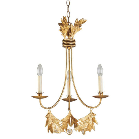 Lucas & McKearn Sweet Olive French Rustic 3Lt Antiqued Gold Mini Chandelier
