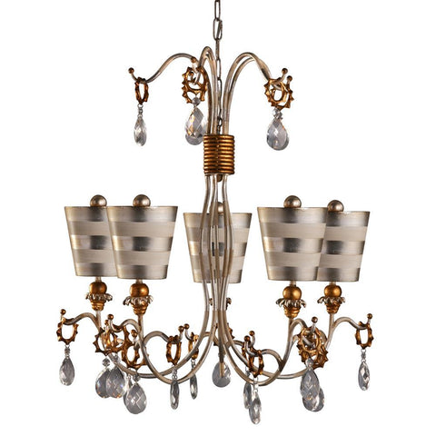 Lucas & McKearn Tivoli 5 Light Striped Silver Shaded 30 In Unique Chandelier