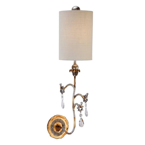 Lucas & McKearn Tivoli Gold Sconce with Crystals and Whimsical Design