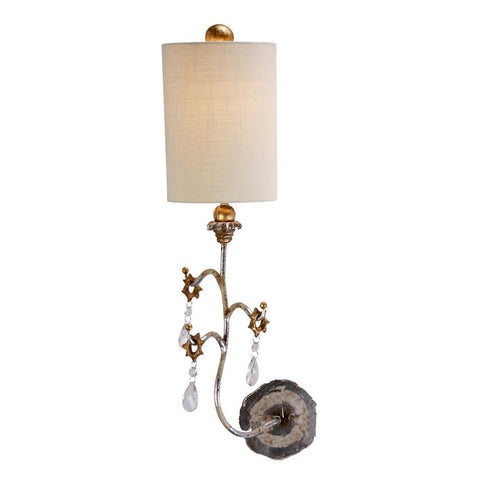 Lucas & McKearn Tivoli Silver Sconce With Crystal and Whimsical Design
