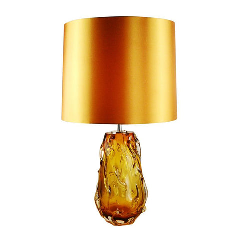 Lucas & McKearn Valencia Orange Retro Inspired Accent Table Lamp in Solid Glass with French Wire