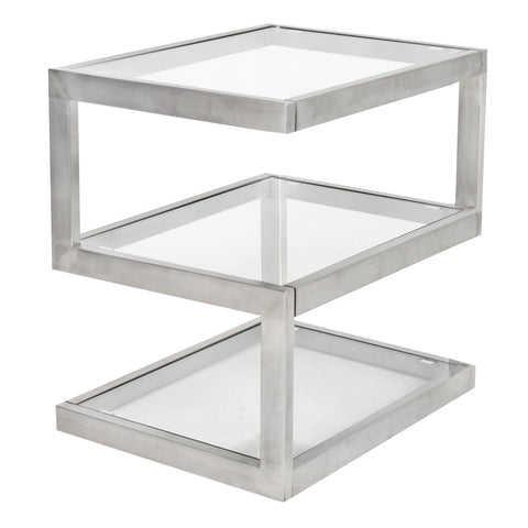 Lumisource 5S Side Table With Clear Glass In Stainless And Clear