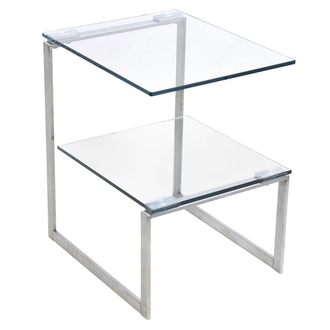 Lumisource 6G Side Table In Stainless Steel With Clear Glass