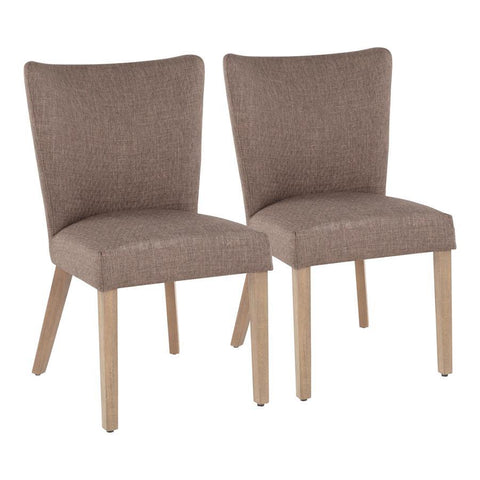 Lumisource Addison Contemporary Dining Chair in Ash Brown Wooden Legs and Grey Fabric - Set of 2