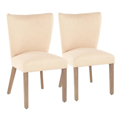Lumisource Addison Contemporary Dining Chair in Ash Brown Wooden Legs and Light Brown Fabric - Set of 2