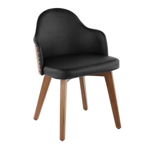 Lumisource Ahoy Mid-Century Chair in Walnut and Black Faux Leather