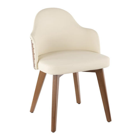 Lumisource Ahoy Mid-Century Chair in Walnut and Cream Faux Leather