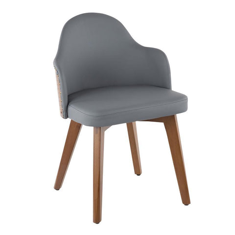Lumisource Ahoy Mid-Century Chair in Walnut and Grey Faux Leather