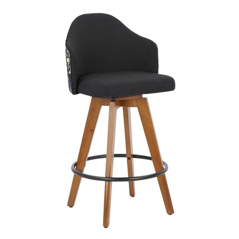 Lumisource Ahoy Mid-Century Counter Stool in Walnut and Black Fabric with Floral Design