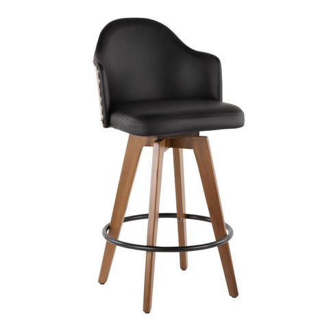 Lumisource Ahoy Mid-Century Counter Stool in Walnut and Black Faux Leather