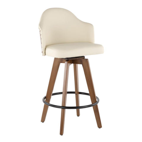 Lumisource Ahoy Mid-Century Counter Stool in Walnut and Cream Faux Leather