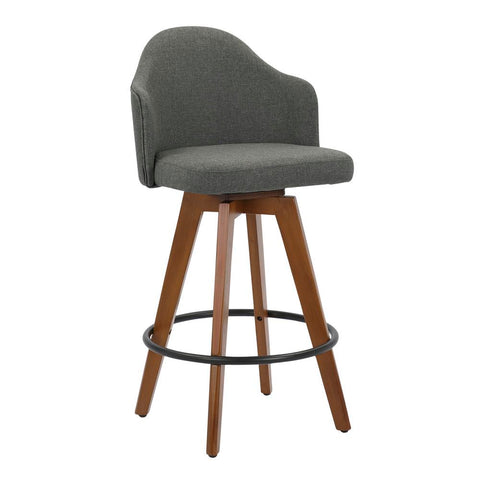 Lumisource Ahoy Mid-Century Counter Stool in Walnut and Grey Fabric