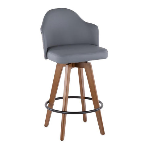 Lumisource Ahoy Mid-Century Counter Stool in Walnut and Grey Faux Leather