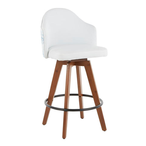 Lumisource Ahoy Mid-Century Counter Stool in Walnut and White Fabric with Blue Coral Design