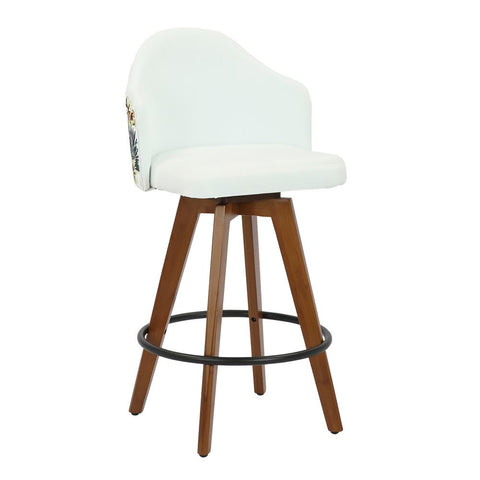 Lumisource Ahoy Mid-Century Counter Stool in Walnut and White Fabric with Floral Design