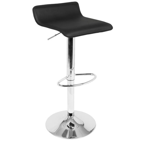 Lumisource Ale Contemporary Adjustable Barstool in Black PU Leather - Set of 2