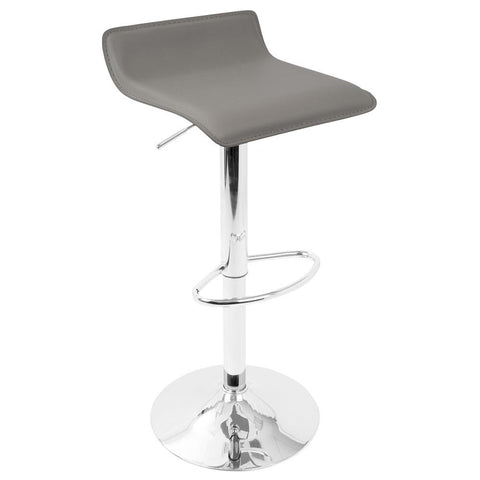 Lumisource Ale Contemporary Adjustable Barstool in Grey PU Leather - Set of 2