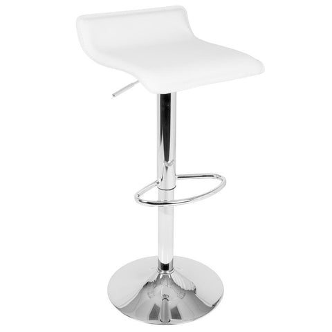 Lumisource Ale Contemporary Adjustable Barstool in White PU Leather - Set of 2
