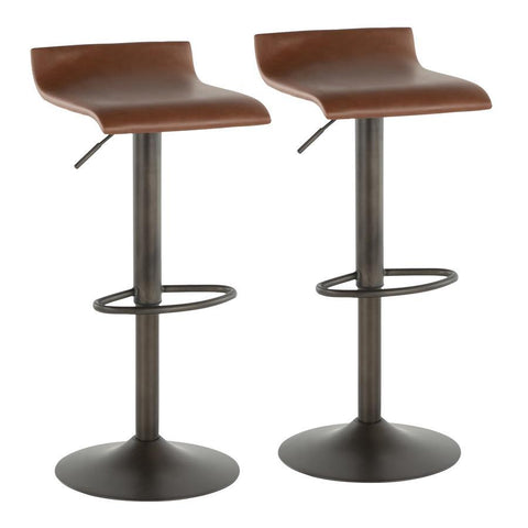 Lumisource Ale Industrial Barstool in Antique Metal and Brown Faux Leather - Set of 2