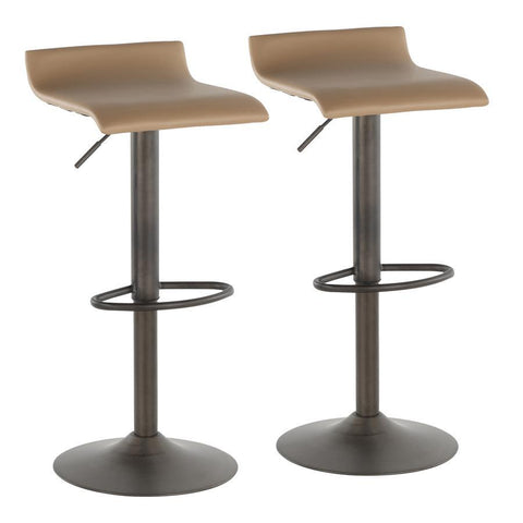 Lumisource Ale Industrial Barstool in Antique Metal and Camel Faux Leather - Set of 2