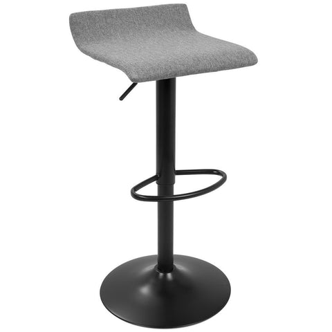 Lumisource Ale XL Contemporary Adjustable Barstool in Black with Polyester Fabric - Set of 2