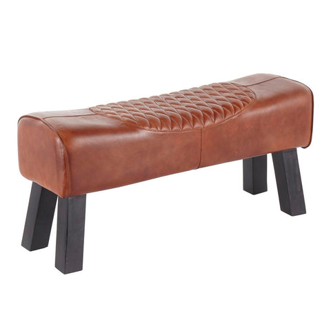 Lumisource Ali Industrial Bench in Black Wood and Brown Leather