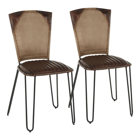 Lumisource Ali Industrial Dining Chair in Black Metal, Espresso Leather and Tan Canvas Fabric - Set of 2