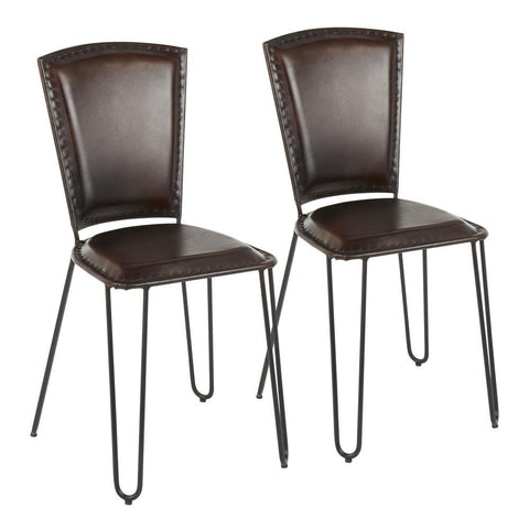 Lumisource Ali Industrial Dining Chair in Black Metal and Espresso Leather - Set of 2