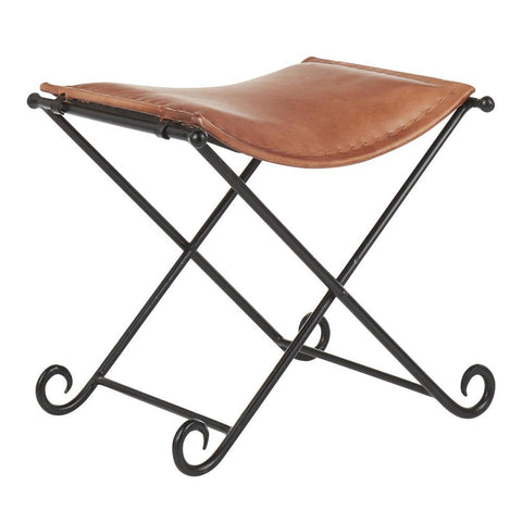 Lumisource Ali Industrial Leather Stool in Black Metal and Brown Leather